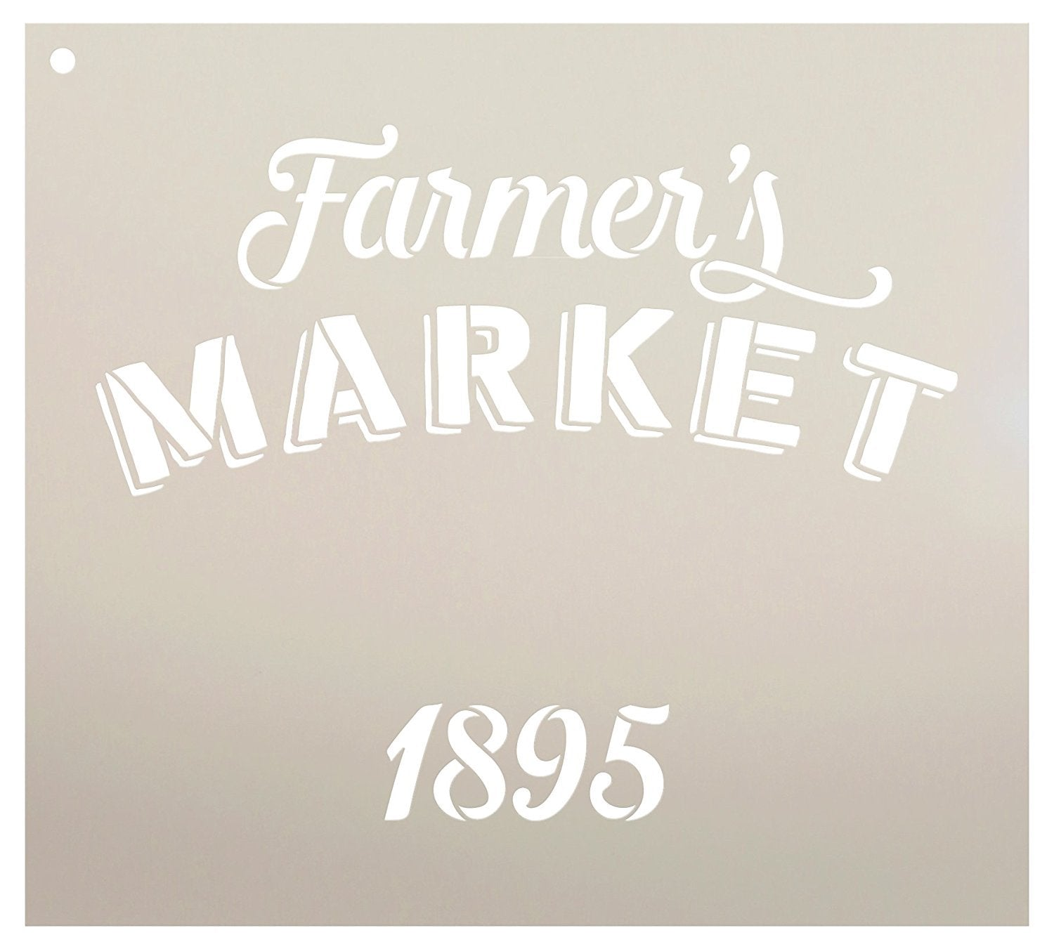 "Farmer's Market 1895 Stencil by StudioR12 | Country Store Sign Word Art - Reusable Mylar Template | Painting, Chalk, Mixed Media | DIY Decor - STCL2335 - SELECT SIZE (10"" x 9"")"