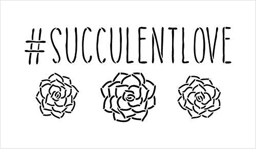 "#SucculentLove Word Stencil by StudioR12 - Plant Garden Nature Art Reusable Mylar Template | Painting, Chalk, Mixed Media | Use for Wall Art, DIY Home Decor - STCL2188 - SELECT SIZE (20"" x 11"")"