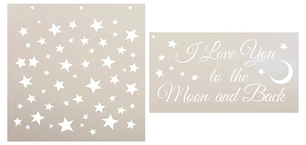 I Love You to The Moon and Back & Funky Stars Stencil Set - 2 Part by StudioR12 | Reusable Mylar Template | Use to Paint Wood Signs - Pillows - DIY Love Decor | CMBN419