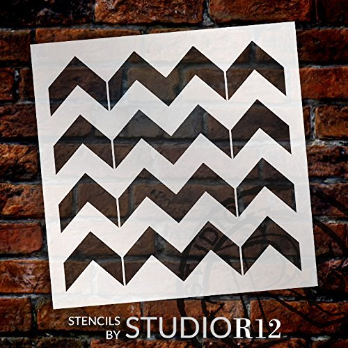 "Thick Chevron Pattern Stencil - 9"" x 9"" - STCL2000_2 - by StudioR12"