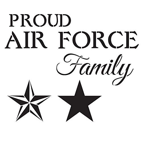 Proud Air Force Family Stencil by StudioR12 | Patriotic Word Art - Large 14 x 14-inch Reusable Mylar Template | Painting, Chalk, Mixed Media | Use for Wall Art, DIY Home Decor - STCL1241_2