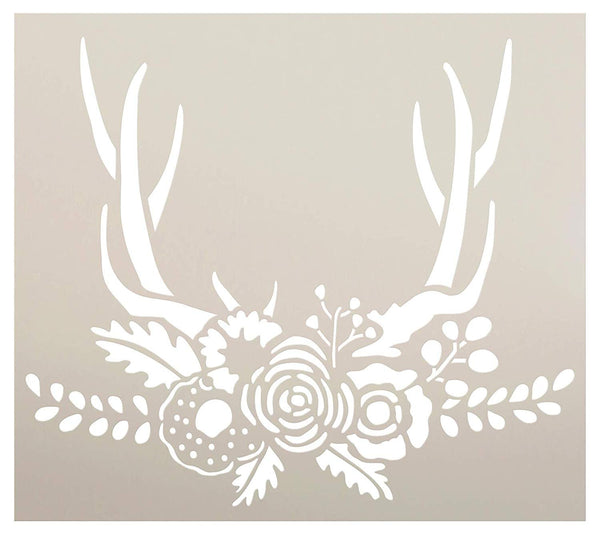 Boho Antlers & Flower Laurels Stencil by StudioR12 | DIY Rustic Vine Deer Rose Gift | Garden Floral Home Decor | Craft Nature Hunter Farmhouse | Reusable Mylar Template | Paint Wood Sign