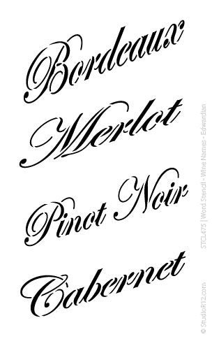 Word Stencil - Wine Names - Edwardian