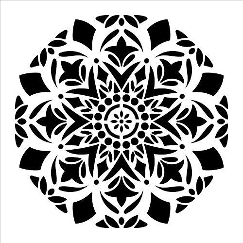 "Mandala - Snow - Complete Stencil by StudioR12 | Reusable Mylar Template | Use to Paint Wood Signs - Pallets - Pillows - Wall Art - Floor Tile - Select Size (18"" x 18"")"