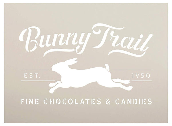 Bunny Trail Fine Chocolates Stencil with Rabbit by StudioR12 | DIY Fun Spring Home Decor | Easter Candy Word Art | Craft & Paint Farmhouse Wood Signs | Reusable Mylar Template | Size