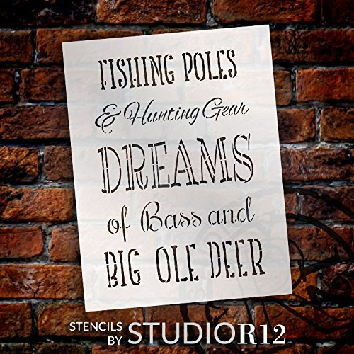 "Fishing Poles & Hunting Gear - Part 1 - Word Stencil - 12"" x 16"" - STCL2083_2 - by StudioR12"