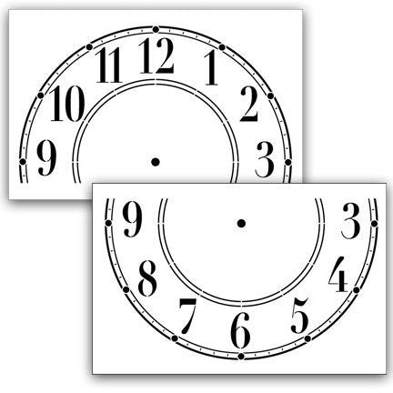 Clock Stencil by StudioR12 | Simple Schoolhouse Clock Face Art - 2 piece X-Large - 14 x 9-inch Reusable Mylar Template | Painting, Chalk, Mixed Media | Use for Wall Art, DIY Home Decor - STCL378