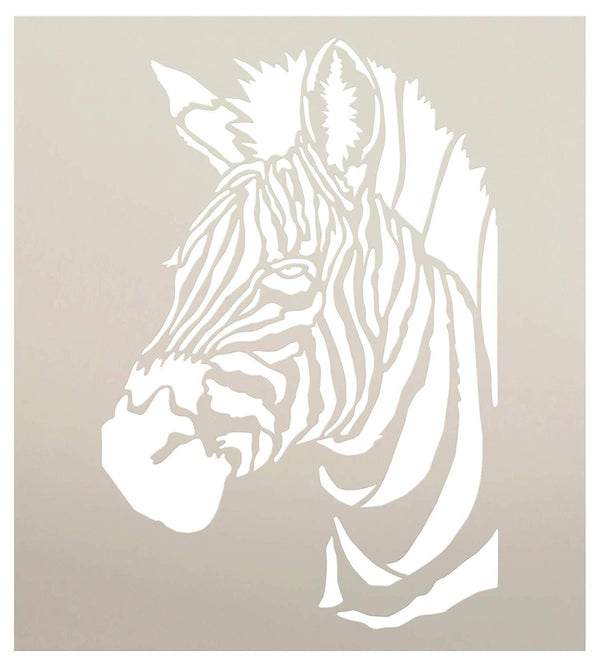 Zebra Portrait Stencil by StudioR12 | Zoo Animals | Craft Educational Play Room DIY Creativity Fun Kids Gift | Family School Nursery Home Decor | Reusable Mylar Template | Paint Wood Sign | STCL3045
