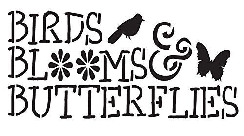 "Birds, Blooms and Butterflies - Word Stencil - Icons - 14"" X 7.5"""