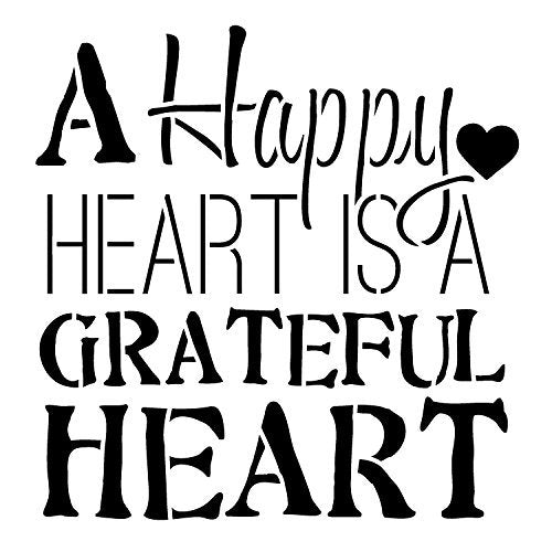 A Happy Heart Word Stencil by StudioR12 | Fun Thankful Word Art - Small 6 x 6-inch Reusable Mylar Template | Painting, Chalk, Mixed Media | Use for Journaling, DIY Home Decor - STCL699_1
