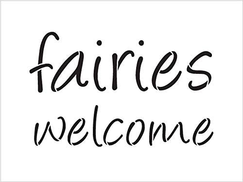 Fairies Welcome Stencil by StudioR12 | Reusable Mylar Template | Use to Paint Wood Signs - Pallets - Pillows - Walls - DIY Fantasy Decor - Select Size