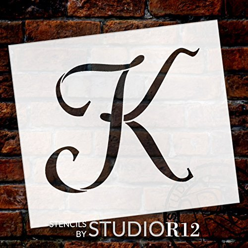 "Graceful Monogram Stencil - K - 15"" - STCL1911_6 - by StudioR12"