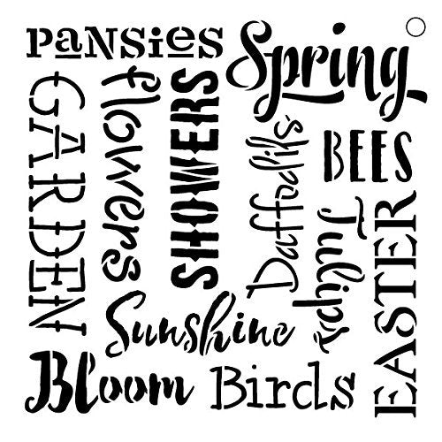 "Spring Words -Pattern Stencil - 6"" X 6"""