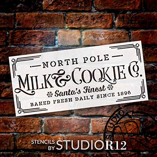 Milk & Cookie Stencil by StudioR12 | Reusable Mylar Template | Paint Wood Sign | Santa North Pole Snowflake Word Art | Craft Christmas Home Decor DIY Vintage Farmhouse Holiday Select Size | STCL2924