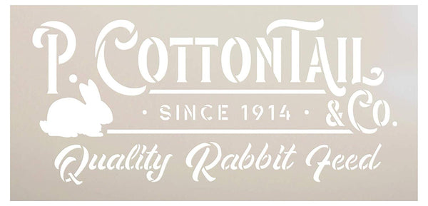 P. Cottontail Rabbit Co. Stencil by StudioR12 | DIY Fun Spring Easter Bunny Home Decor | Quality Feed | Craft & Paint Farmhouse Wood Signs | Reusable Mylar Template | Select Size