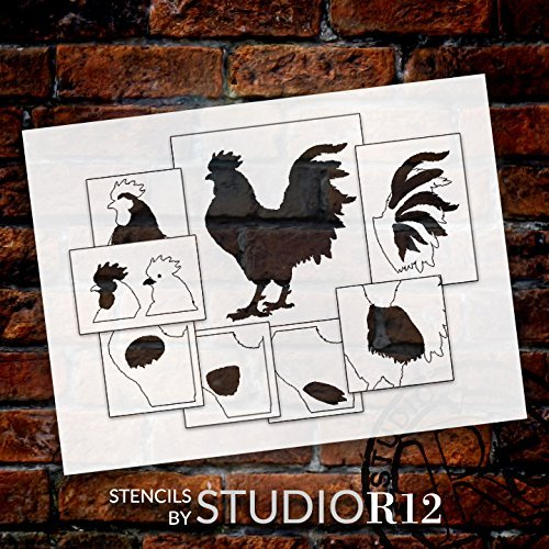 "Rustic Rooster Layered Stencil - 8 piece set - 12"" - STCL1785_2 - by StudioR12"