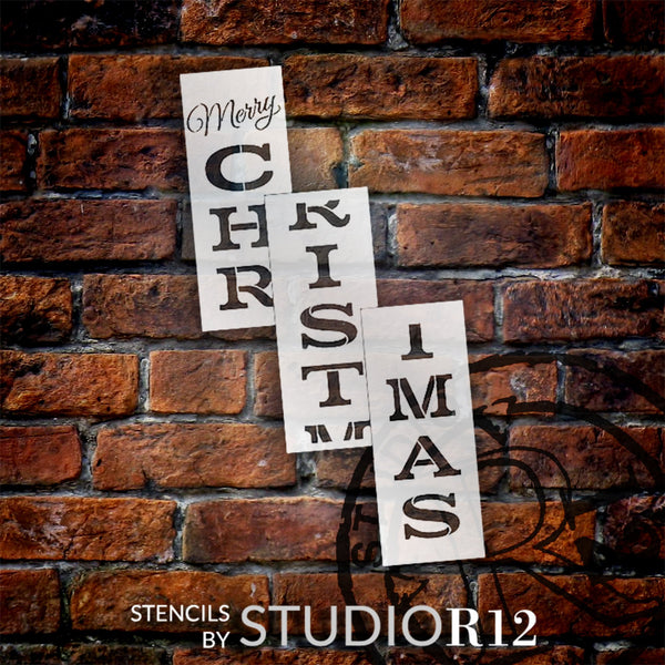 Merry Christmas Tall Porch Stencil by StudioR12 | 3pcs | DIY Large Vertical Christmas Holiday Home Decor | Front Door or Entryway | Craft & Paint Wood Leaner Signs | Reusable Mylar Template | Size 6ft | STCL2013
