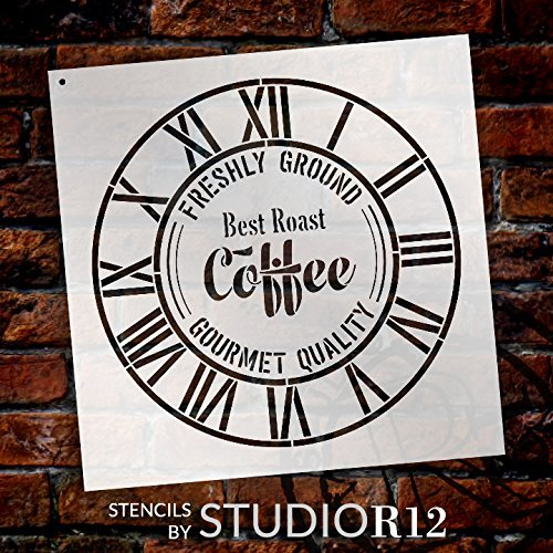 "Round Coffee Clock Stencil - Industrial Roman Numerals - DIY Painting Rustic Wood Clocks Small to Extra Large for Home Decor - Select Size (22"" (2 Parts))"