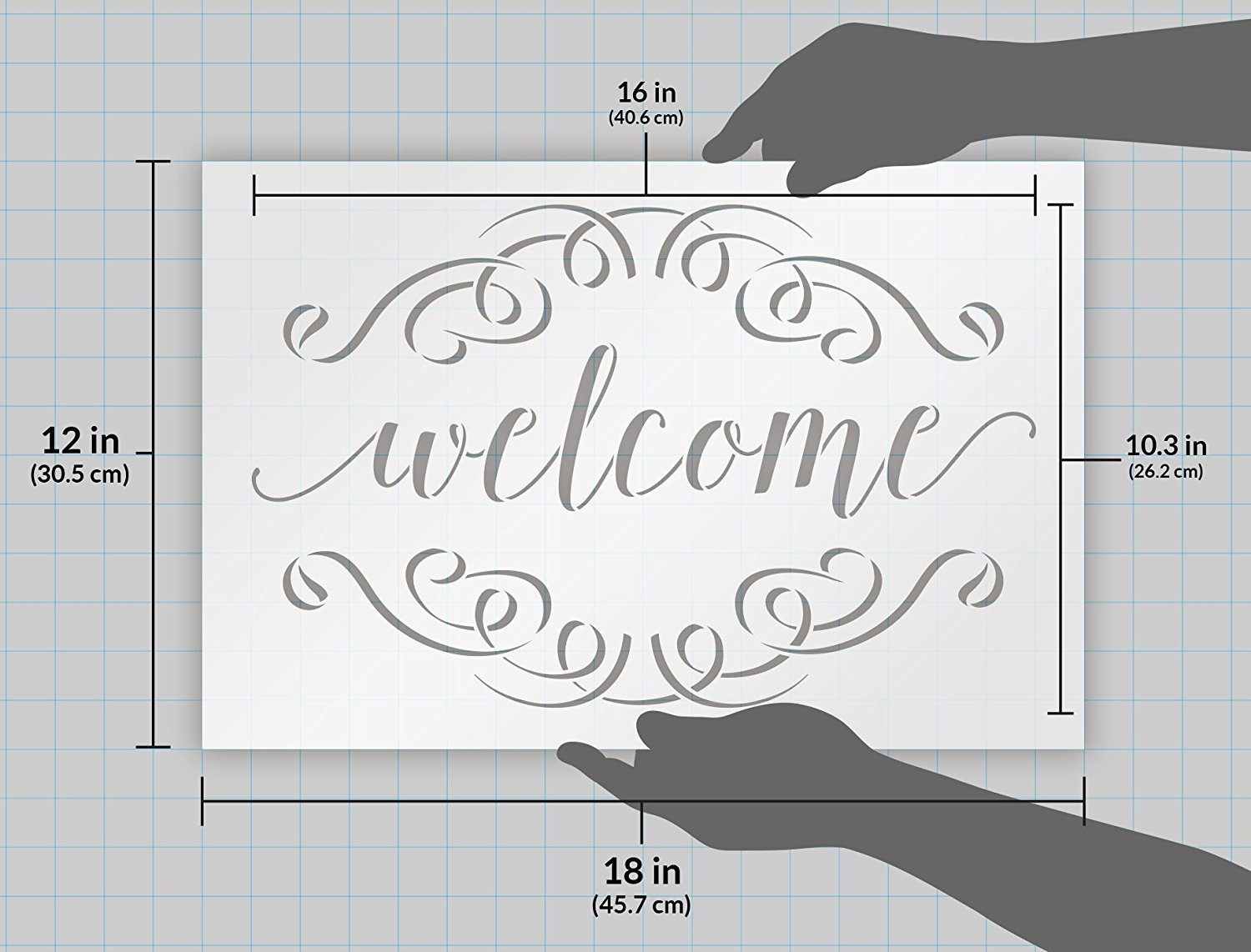 Welcome Stencil with Scrolls by StudioR12 | Reusable Mylar Template | word art - for painting on Rustic Pallets or Wood signs - Farmhouse | Use for Crafting, DIY Home Decor - SELECT SIZE