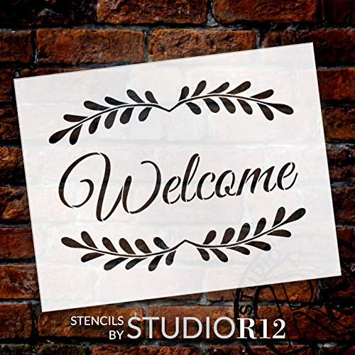 Welcome with Leaves Stencil by StudioR12 | Reusable Mylar Template | Use to Paint Wood Signs - Pallets - Pillows - Walls - DIY Home Decor - Select Size