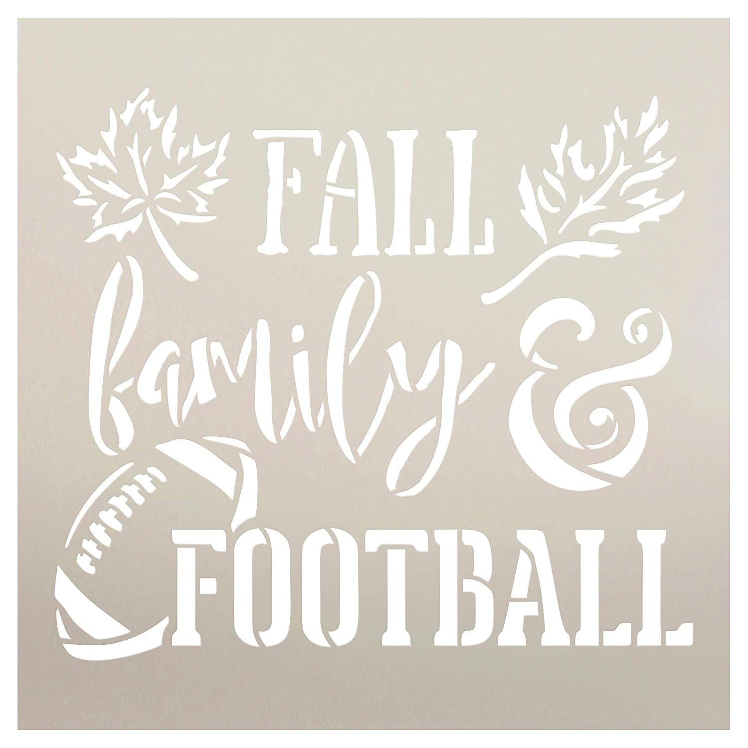 Fall Family and Football Stencil by StudioR12 | Wood Signs | Word Art Reusable | Mancave Sports Room | Painting Chalk Mixed Media Multi-Media | DIY Home - Choose Size