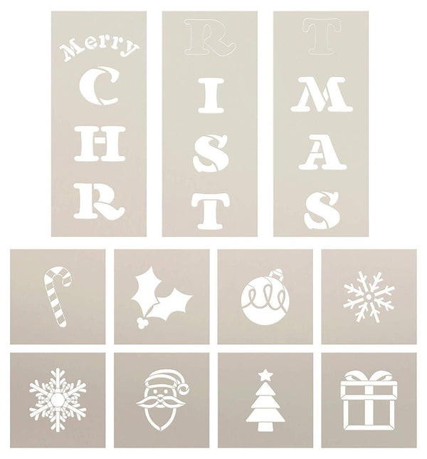 Merry Christmas Tall Porch Stencil Set by StudioR12 | 11 Piece | Snowflake Ornament Holly Tree Santa | DIY Large Vertical Winter Holiday Outdoor Home Decor | Craft & Paint Wood Leaner Signs | Size 6ft