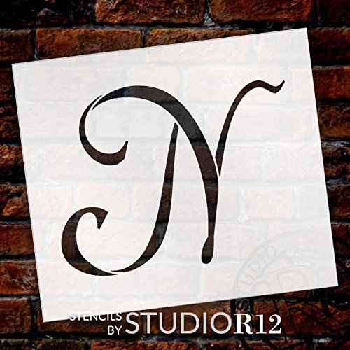 "Graceful Monogram Stencil - N - 10"" - STCL1914_4 - by StudioR12"
