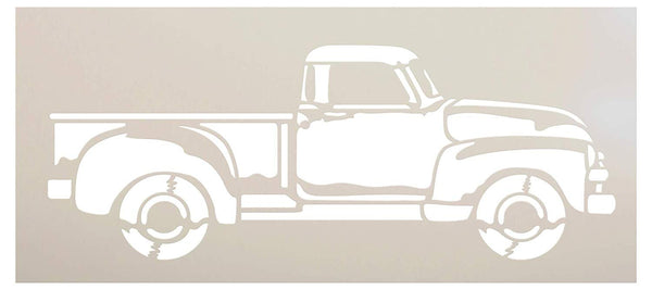 Old Red Truck Stencil Side View by StudioR12 | Rustic Farmhouse Style Country Living Farm Life Vintage Decor | Reusable Mylar Template | Paint Wood Signs | DIY Home Craft | Select Size | STCL2946