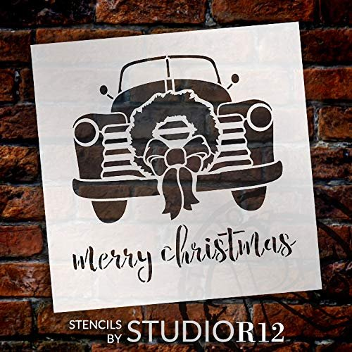 Merry Christmas Truck with Wreath Stencil - by StudioR12 | Reusable Mylar Template | Use to Paint Wood Signs - Pallets - DIY Christmas Season Decor - Select Size | STCL2575