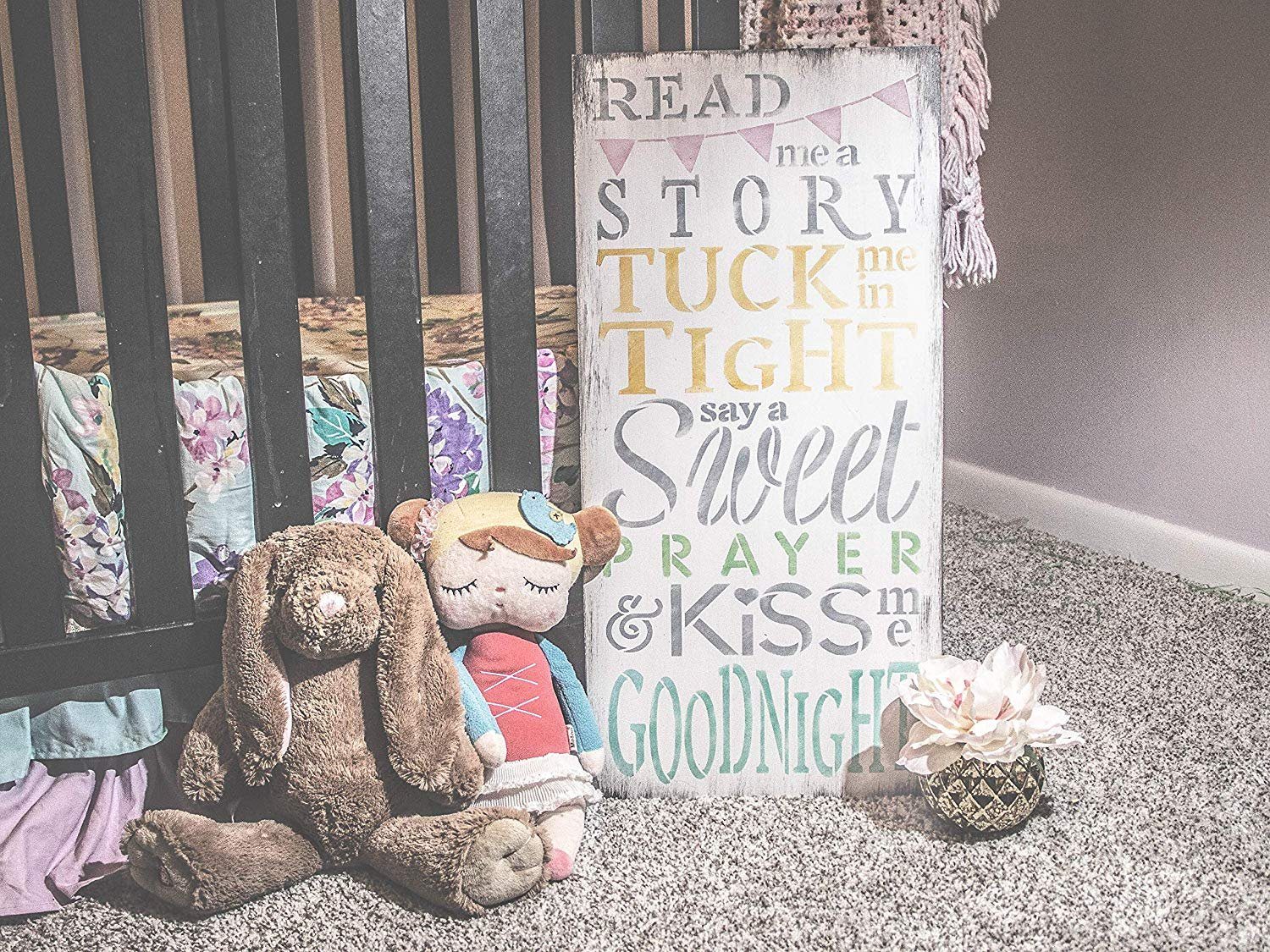 Read Me A Story & Kiss Me Goodnight Stencil by StudioR12 | Reusable Mylar Template | Use to Paint Wood Signs - Pallets - Pillows - DIY Child's Room Decor - Select Size