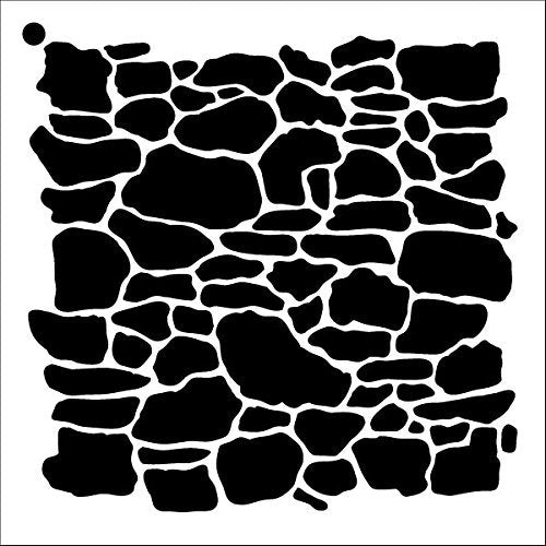 "Stone Wall Stencil by StudioR12 | Repeating Pattern Art - Medium Reusable Mylar Template | Painting, Chalk, Mixed Media | Use for Crafting, DIY Home Decor - STCL1019 SELECT SIZE (9"" x 9"")"