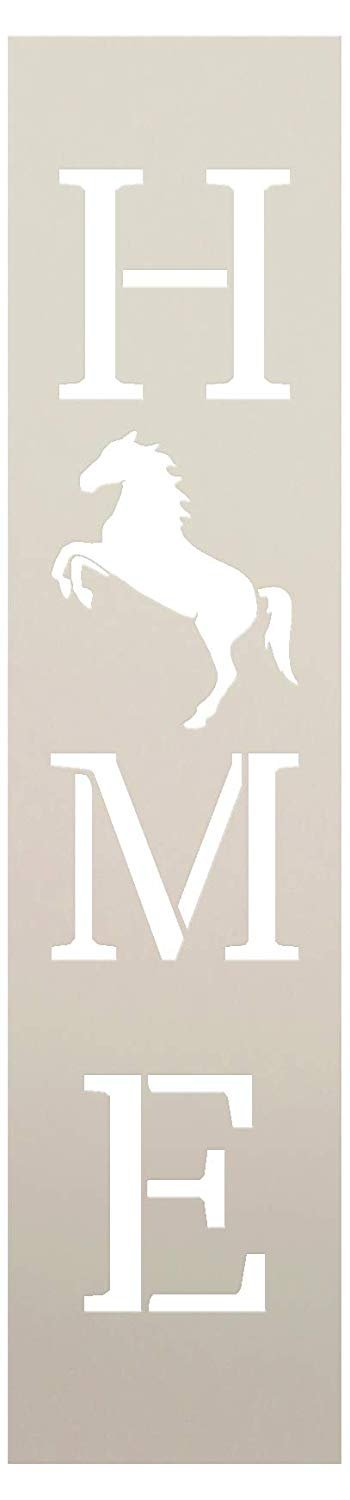 Home with Rearing Horse - Vertical Stencil by StudioR12 | Reusable Mylar Template | Use to Paint Wood Signs - Pallets - Banners - DIY Equestrian Style Decor - Select Size | STCL2527