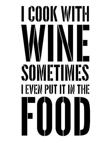 I Cook With Wine Stencil by StudioR12 | Foodie & Wine Word Art - X-Large 15 x 24-inch Reusable Mylar Template | Painting, Chalk, Mixed Media | Use for Wall Art, DIY Home Decor - STCL1338_3