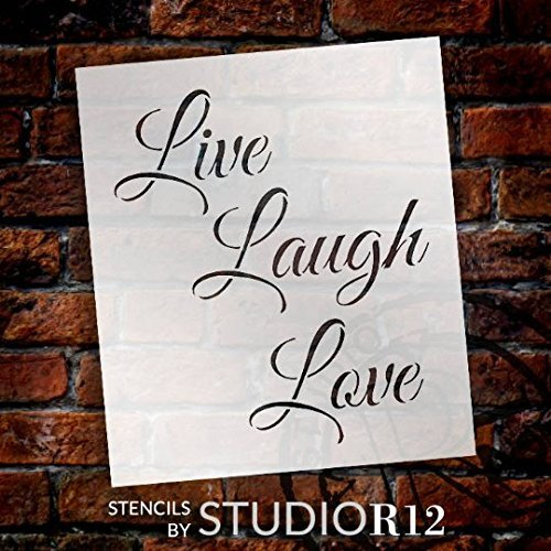 "Live Laugh Love Stencil by StudioR12 | Trendy Inspirational Word Art - Reusable Mylar Template | Painting, Chalk, Mixed Media | Use for Wall Art, DIY Home Decor - STCL1193 - SELECT SIZE (6.5"" x 7.5"")"