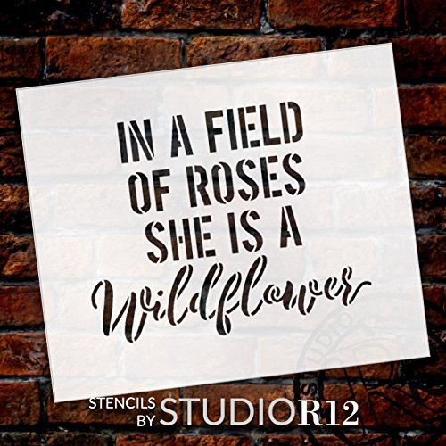 "She Is A Wildflower - Word Stencil - by StudioR12 …CHOOSE SIZE (9"" X 7"")"