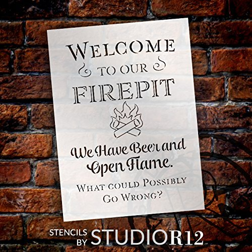 Welcome to Our Firepit - We Have Beer and Open Flame Stencil by StudioR12 | Reusable Mylar Template | Use to Paint Wood Signs | DIY Campfire Decor - Select Size (19
