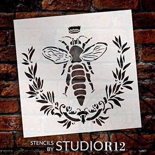 Bella Vintage Bee Stencil with Laurels & Crown by StudioR12 | DIY French Country Ephemera Home Decor & Furniture | Rustic Farmhouse | Paint Wood Signs | Reusable Template | Select Size | STCL3247