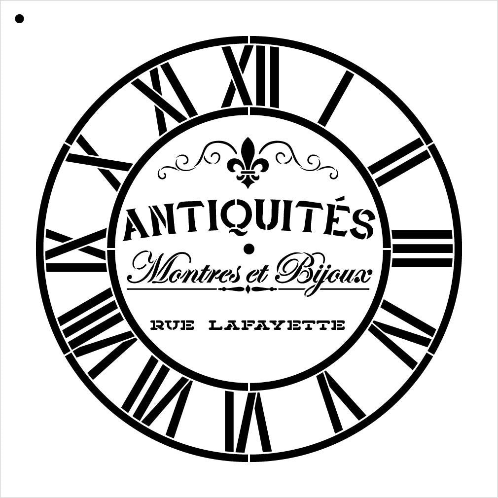 "Round Clock Stencil - Industrial Roman Numerals - French Antique Words - DIY Paint Wood Clock Small to Extra Large Home Decor - Select Size (14"")"
