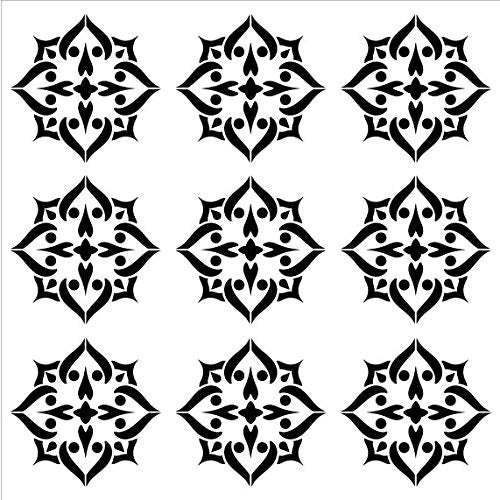 Mandala - Spades - 9 Tile Pattern Stencil by StudioR12 | Reusable Mylar Template | Use to Paint Wood Signs - Pallets - Pillows - Wall Art - Floor Tile - Select Size | STCL2559