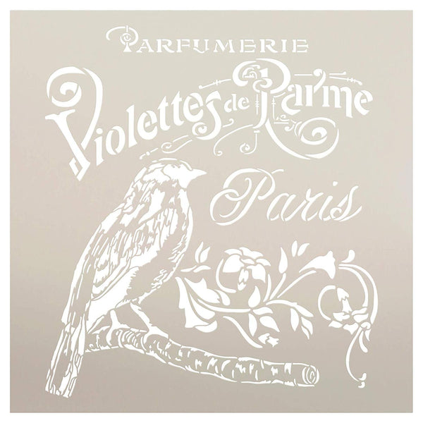 French Paris Antique Bird Stencil with Flowers by StudioR12 | DIY Vintage Script Ephemera Home Decor & Furniture | Violet Parfumerie | Paint Wood Sign | Mylar Template | Select Size | STCL3239