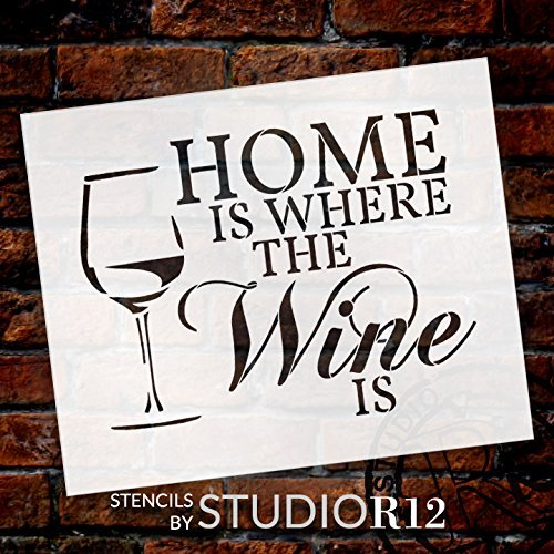 "Home Is Where - Wine - Word Art Stencil - 17"" x 14"" - STCL1892_3 - by StudioR12"