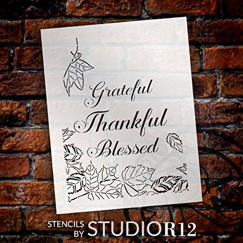 Grateful Thankful Blessed Leaves Stencil by StudioR12 | Reusable Mylar Template | Use to Paint Wood Signs - Wall Art - Pallets - DIY Fall Home Decor - Select Size (18