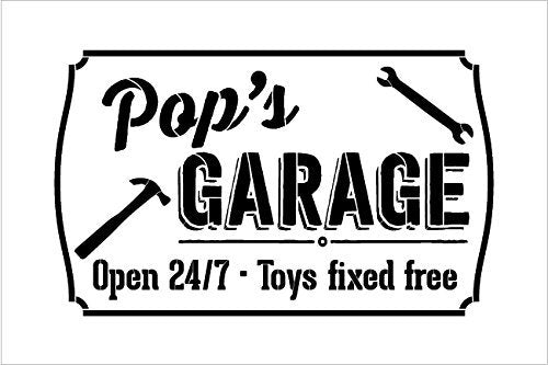 "Pop's Garage - Open 24/7 Sign Stencil by StudioR12 | Reusable Mylar Template | Use to Paint Wood Signs - Pallets - DIY Grandpa Gift - Select Size (21"" x 13"")"