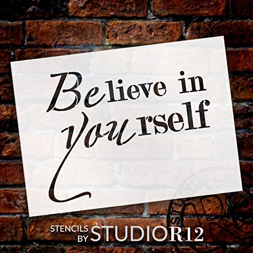 "BElieve in YOUrself - Word Stencil - 13"" x 10"" - STCL2097_2 - by StudioR12"