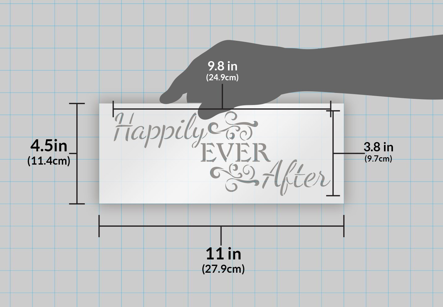 "Happily Ever After Word Art Stencil - Magical - 11"" X 4.5"""