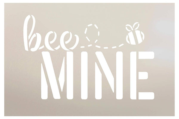 Bee Mine Stencil with Bumblebee by StudioR12 | Cursive Script | Reusable Mylar Template | Paint Wood Sign | Craft Funny Valentine Gift | DIY Holiday Home Decor | Select Size | STCL3285