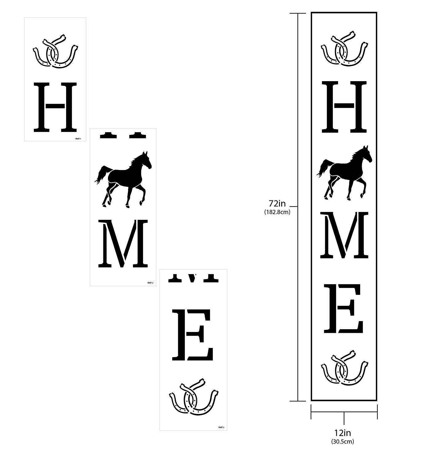 "Home with Trotting Horse & Horseshoes - Vertical - Porch Sign Stencil - 3 Part by StudioR12 | Reusable Mylar Template | Use to Paint Wood Signs - Welcome - Animal Lover Decor - 12"" x 72"""