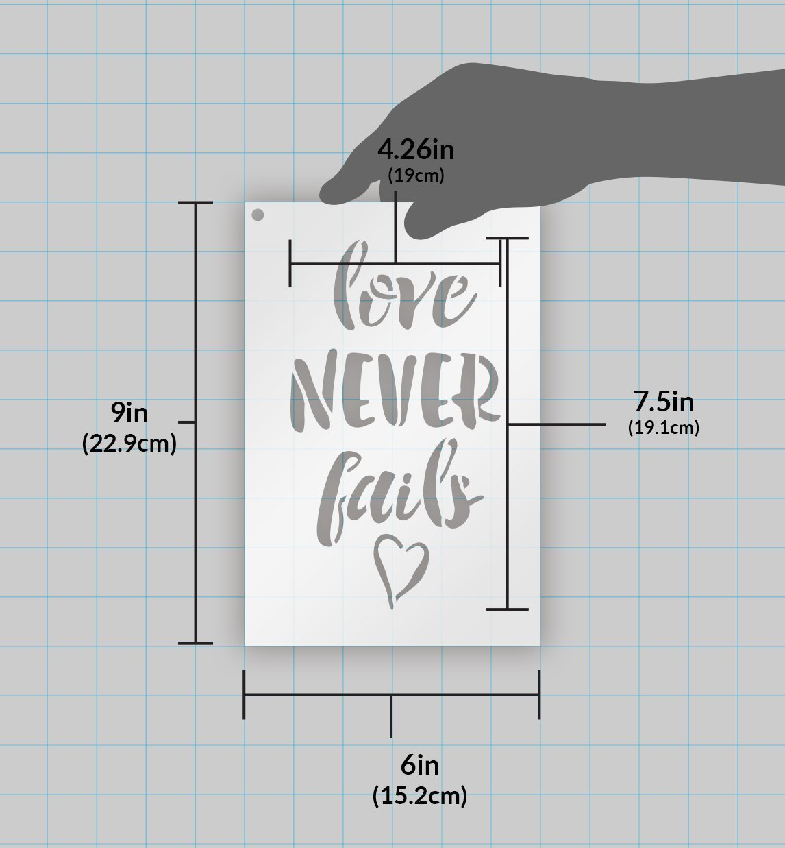 "Love Never Fails Stencil - by StudioR12 | - Reusable Mylar Template | Painting, Chalk, Mixed Media | Wall Art, DIY Home Decor- STCL1518 - SELECT SIZE (11"" x 18"")"