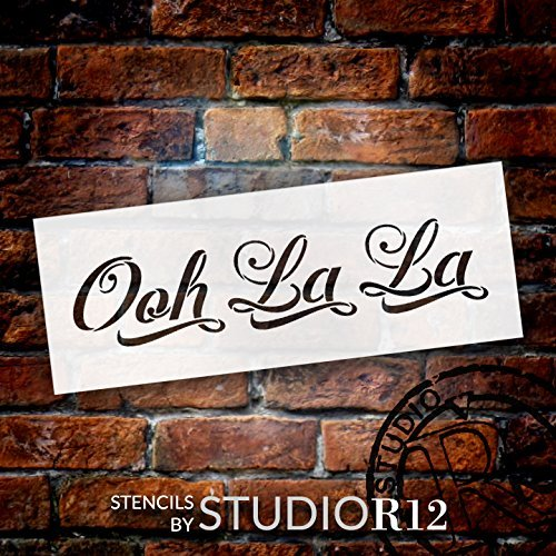 "Ooh La La - Graceful Script - Word Stencil - 8"" x 3"" - STCL1416_1 by StudioR12"