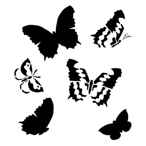 Butterfly Stencil by StudioR12 | Graceful Spring Nature Pattern Art - Small 6 x 6-inch Reusable Mylar Template | Painting, Chalk, Mixed Media | Use for Journaling, DIY Home Decor - STCL364_1